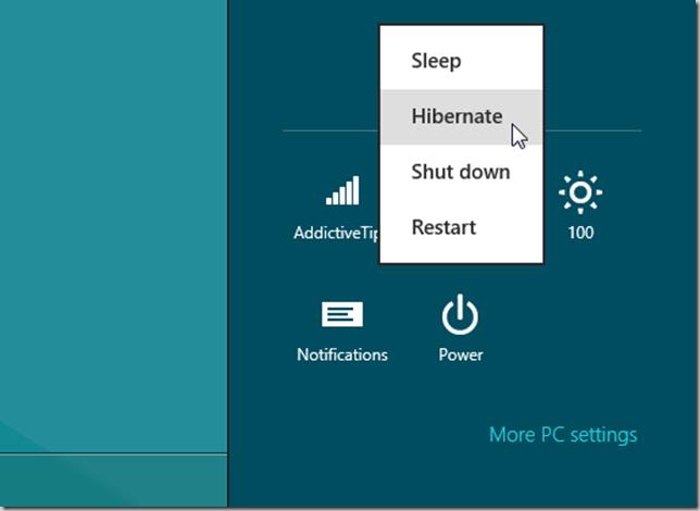Windows 8 Hibernate in Charms bar