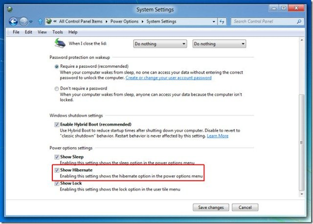 Show Windows 8 Hibernate option