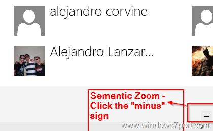 Semantic Zoom in Windows 8 - People App