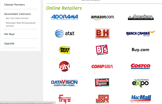 Windows 8 Online Retailers List