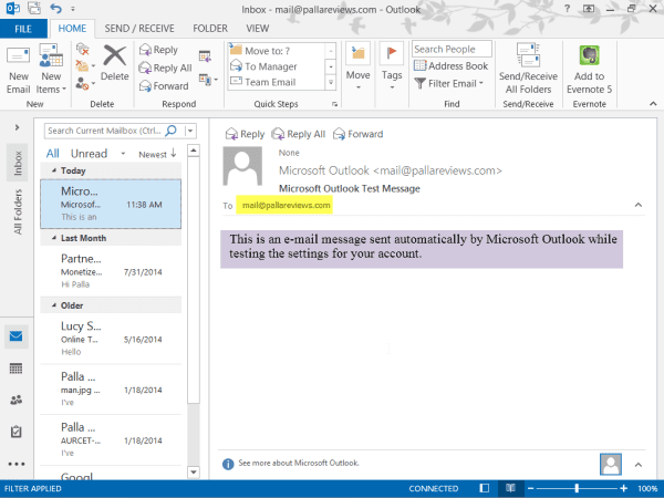 Test mail in Outlook 2013