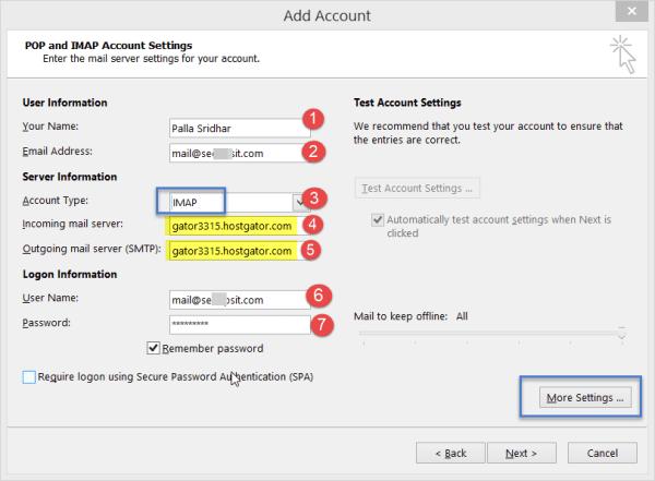 IMAP Settings in Outlook 2013 for HostGator Server