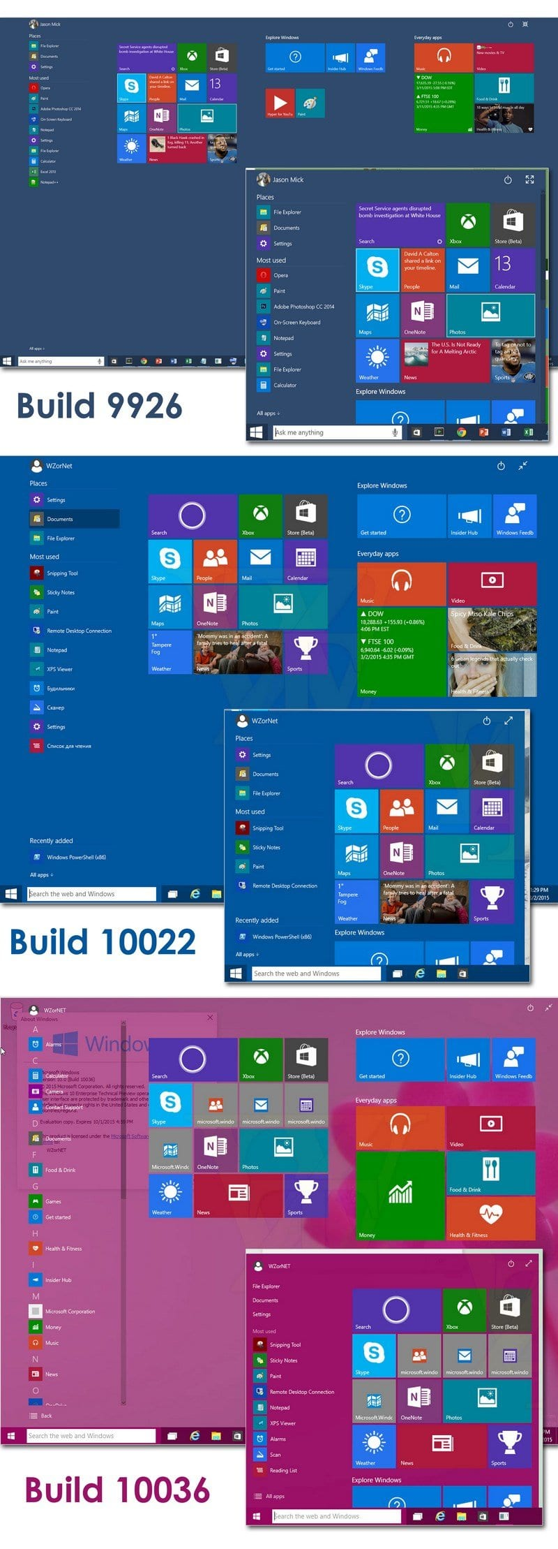 Comparison of Windows 10 Start Menu in different builds