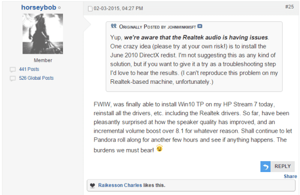 Forum answer for windows 10 hdmi audio not working