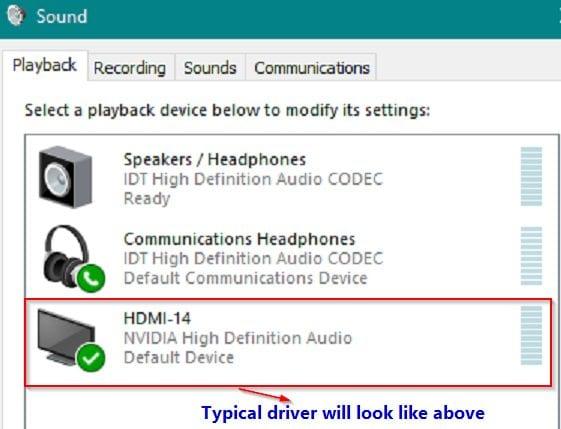 Audio Driver item in Playlist in Windows 10