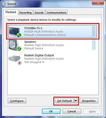 set playback audio default to HDMI device