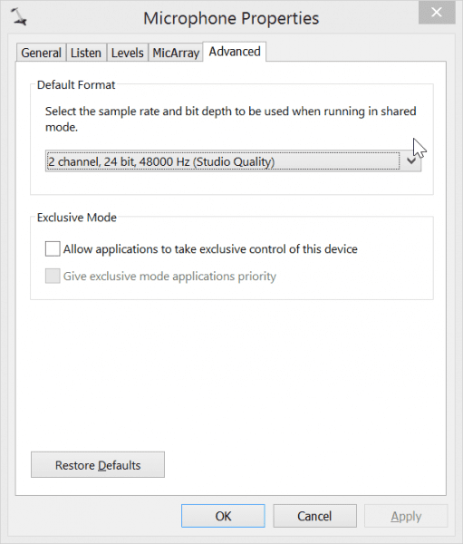 Change the audio recording quality to DVD