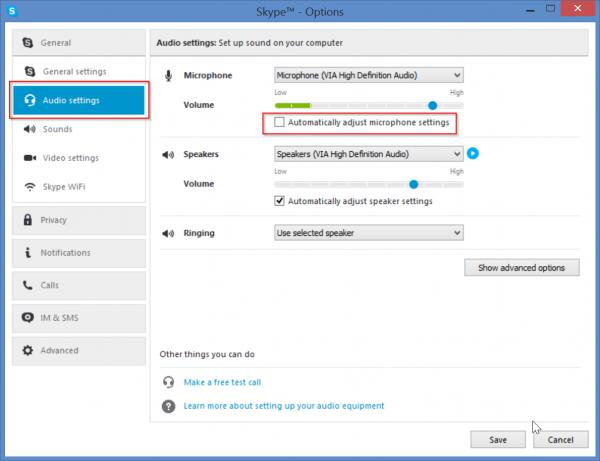 Fix low mic volume problem in Skype