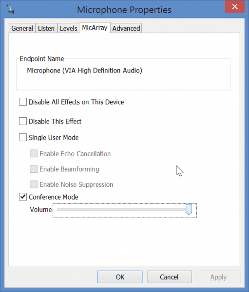 Disable all enhancements except conference mode