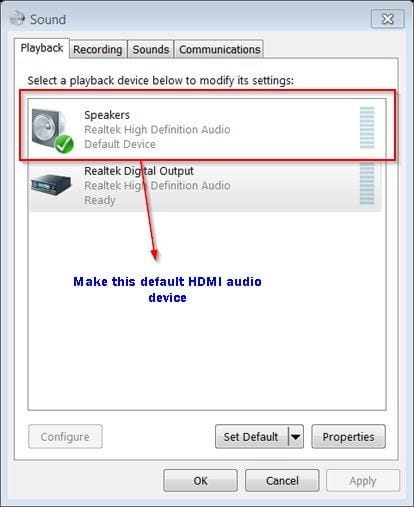 solution to no audio problem for windows 10 hdmi and dell