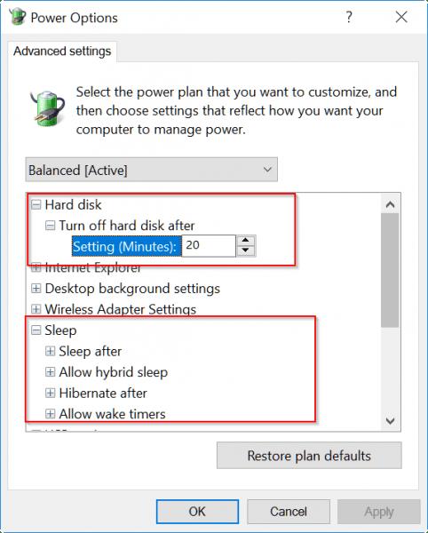 windows 10 power options - fix restart after sleep
