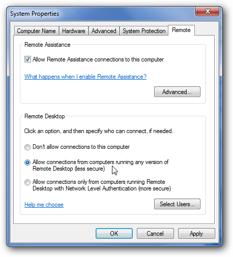 remote desktop settings in windows 7