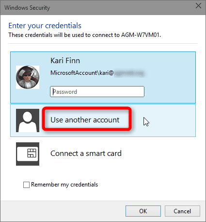 username and password of remote host