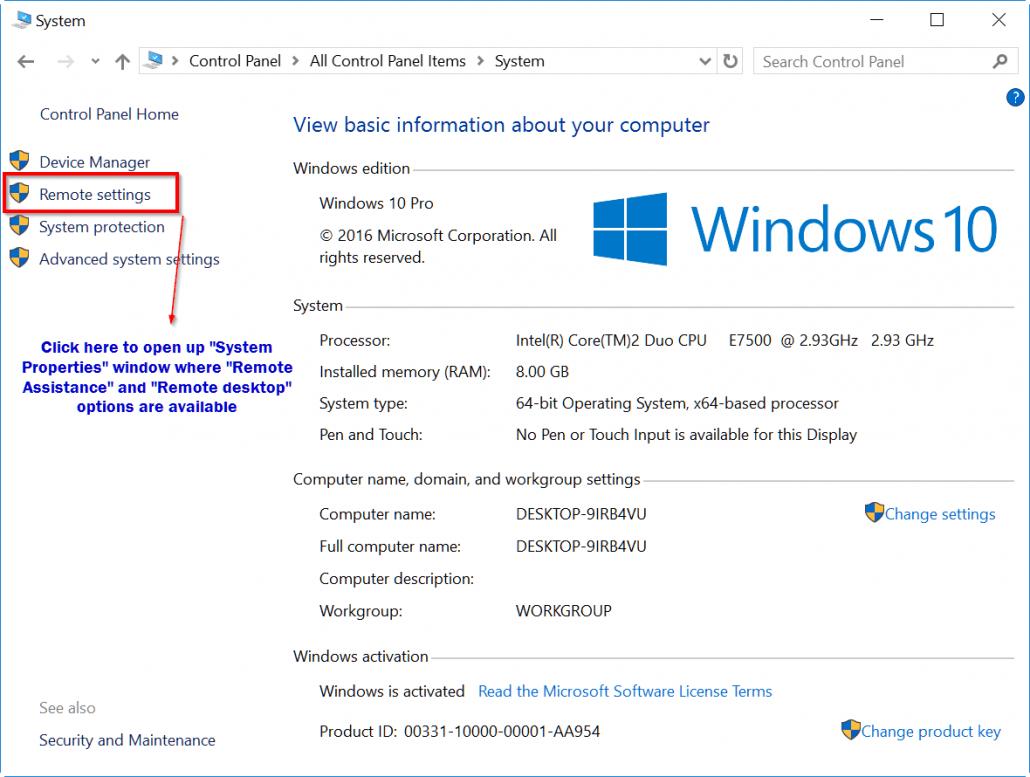 remote-settings-windows-10