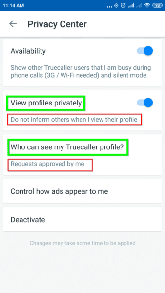 Private Mode and Privacy Settings in Truecaller Premium