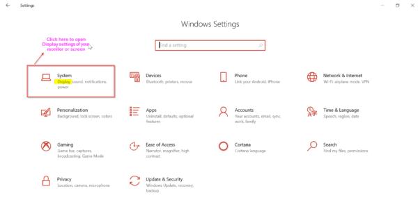 Settings in Windows 10